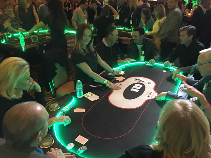 LED Poker Tables for rent at your corporate event, private poker party, or charity poker tournament