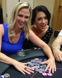 Mallory Harden of Fox Sports Arizona playing poker at Aces and Bases, #PokerForCharity  #CasinoNightInAZ  #CelebritySightingsAZPokerTournament