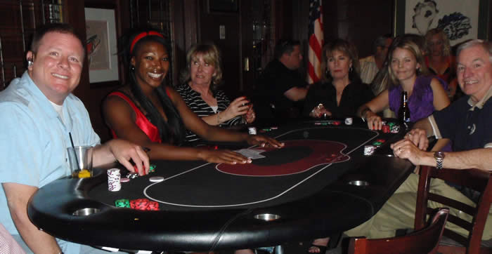 Crystal dealing Texas Hold'em at the Paradise Valley Rotary Club Charity Poker Tournament