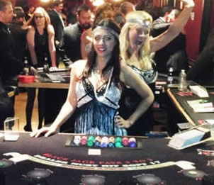 Casino tables and dealers for hire in flappers for a Roaring 20's Casino Night or Great Gatsby Casino Night
